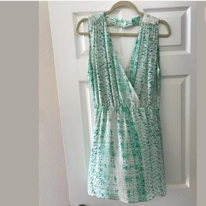 Parker Teal And White XS 100% Silk dress